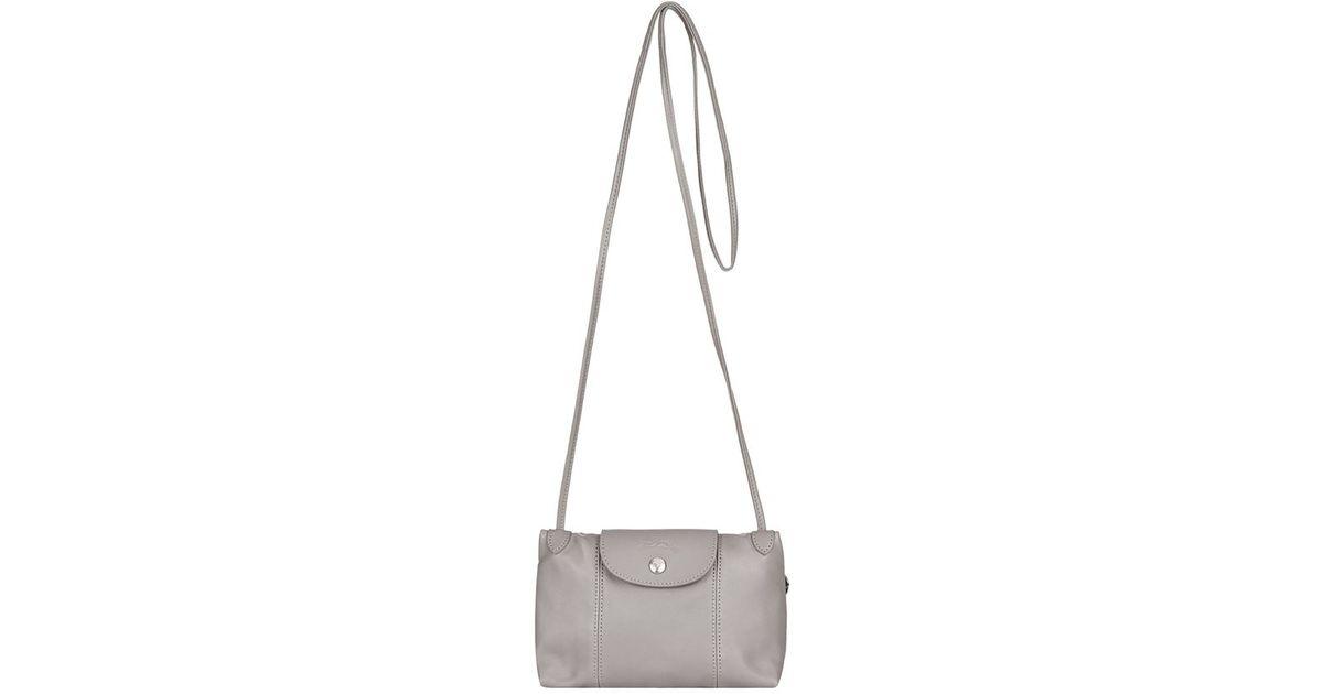 94e31f047244 Longchamp Le Pliage Cuir Cross Body Bag in Gray - Lyst