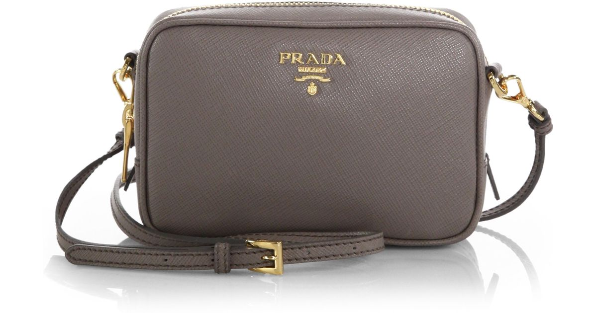 ... reduced lyst prada saffiano leather camera bag in gray a8764 51161 944a84be75449