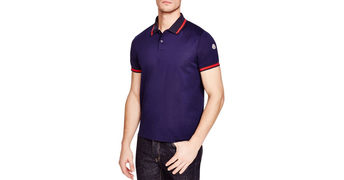 9f8b74631 Lyst - Moncler Racing Stripes Slim Fit Polo Shirt in Blue for Men