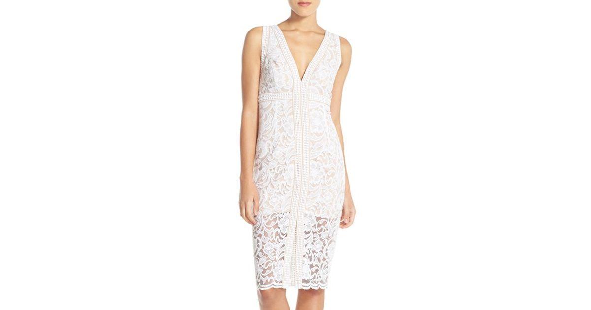 Bardot White Shauna Lace Sheath Dress