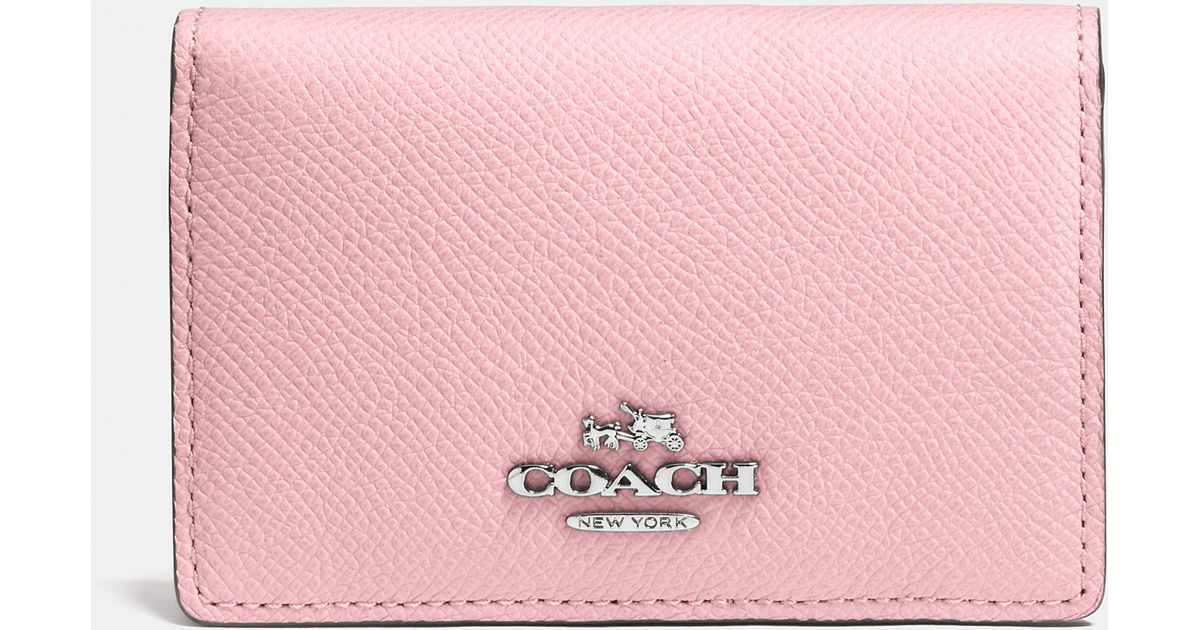 1c935579 COACH Pink Business Card Case In Crossgrain Leather