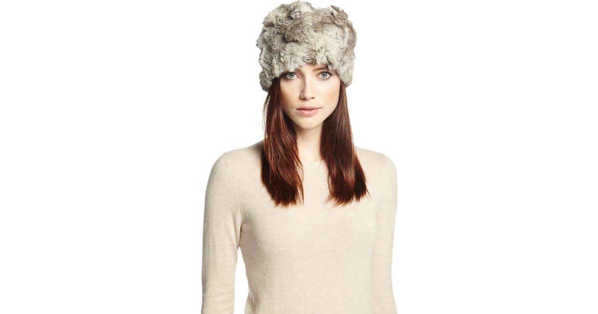 9ba7e172a6eca Lyst - Adrienne Landau Textured Rabbit-fur Hat in Gray