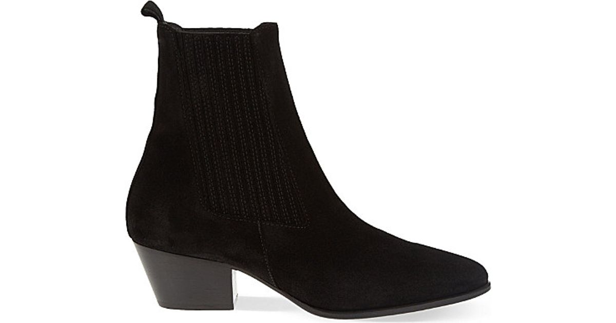 569296831a959 Sandro Amelya Heeled Suede Chelsea Boots in Black - Lyst