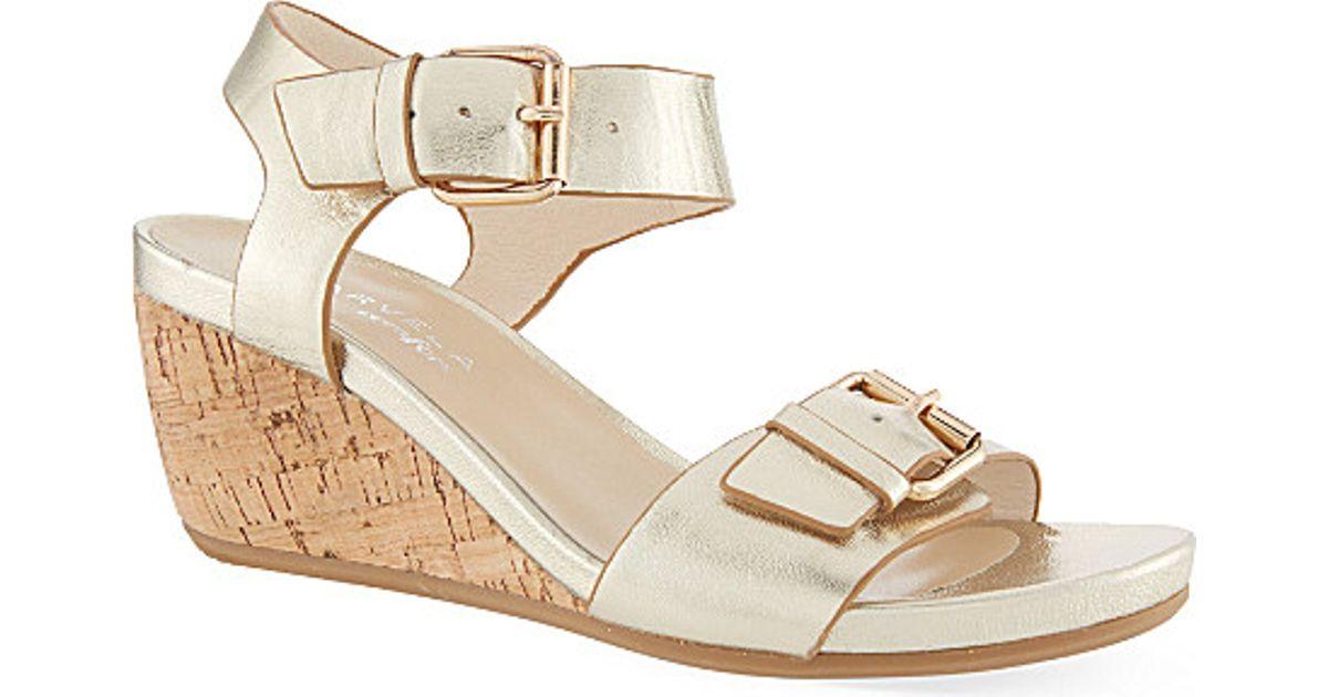 45a355d9d1 Carvela Kurt Geiger Splinter Wedge Sandals in Metallic - Lyst