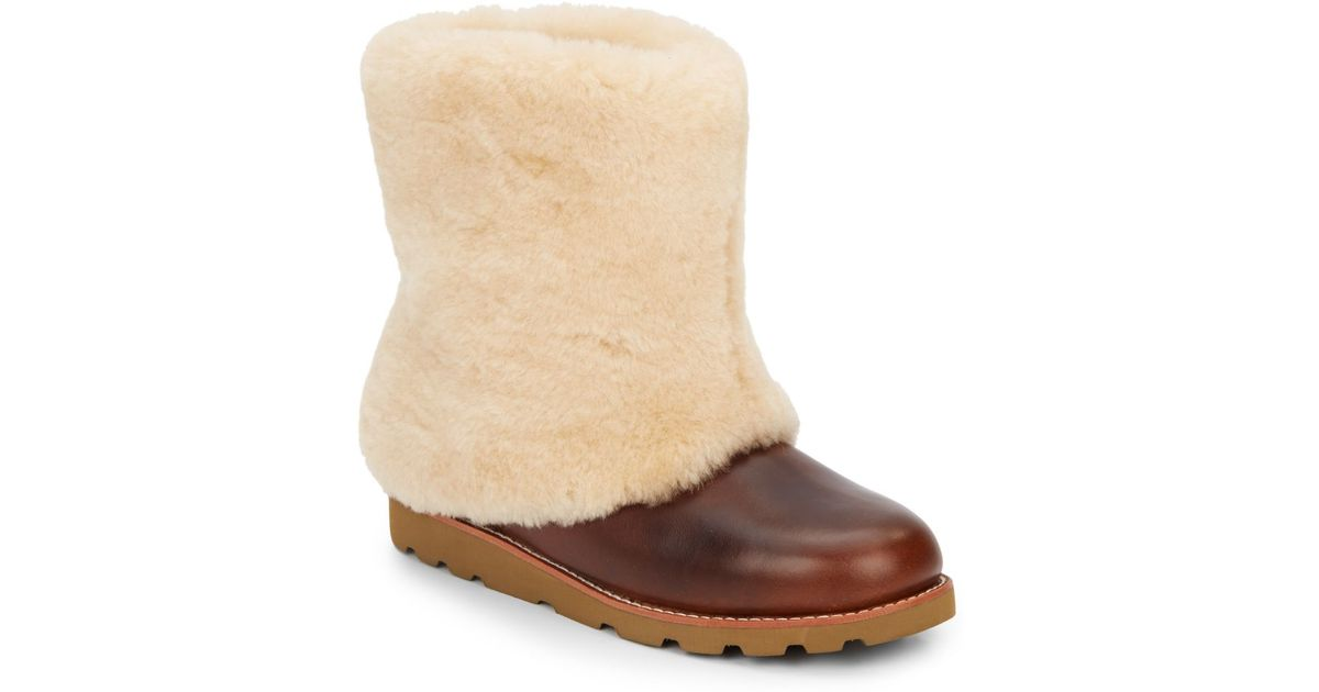 5c05dbf2776 UGG Brown Maylin Leather & Lamb Shearling Boots