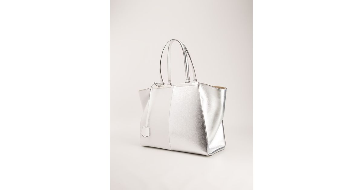 b66398b92491 ... low cost fendi trois jour twotone tote in white lyst 86e25 acaaf