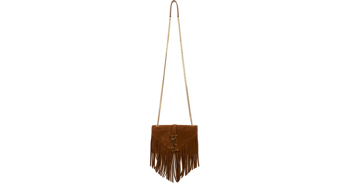 ysl prices - Saint laurent Monogram Small Fringed Suede Crossbody Bag in Brown ...