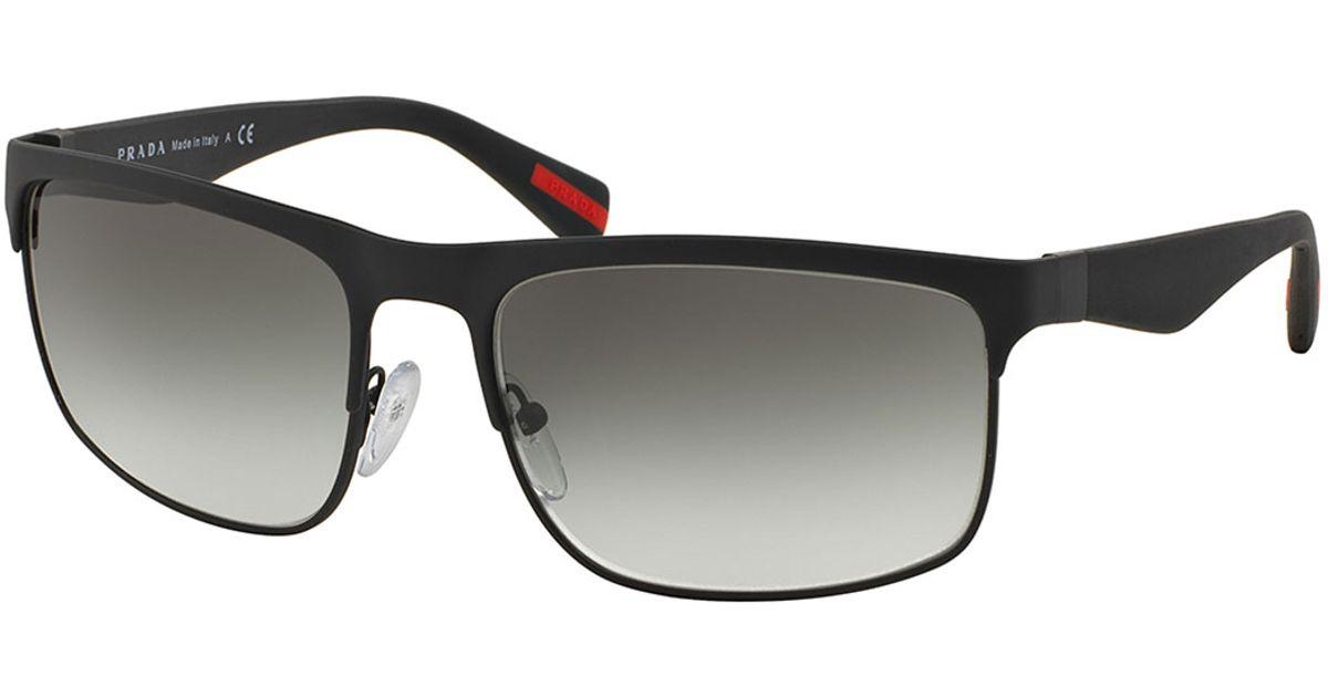 Prada Wire-frame Rectangular Sunglasses in Black for Men ...