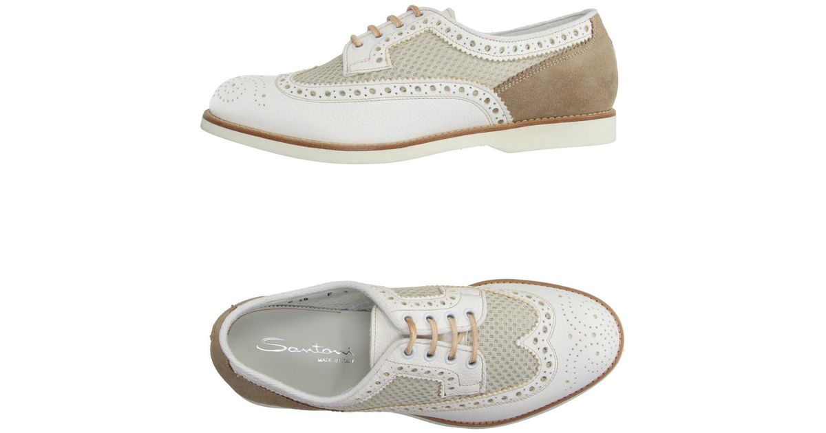 santoni lace up shoe in white for lyst