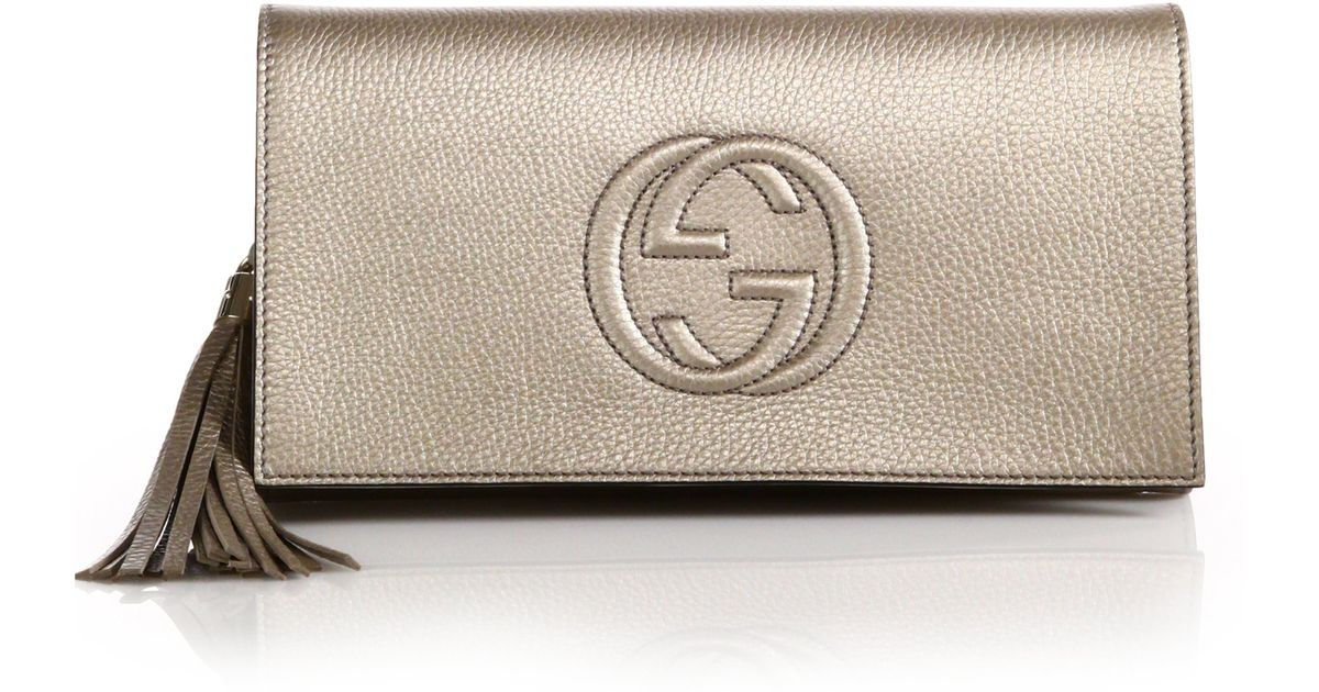 898fe32c Gucci Soho Metallic Leather Clutch