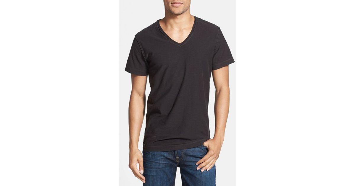 Diesel 39 tossik 39 v neck t shirt in black for men lyst for Mens diesel v neck t shirts