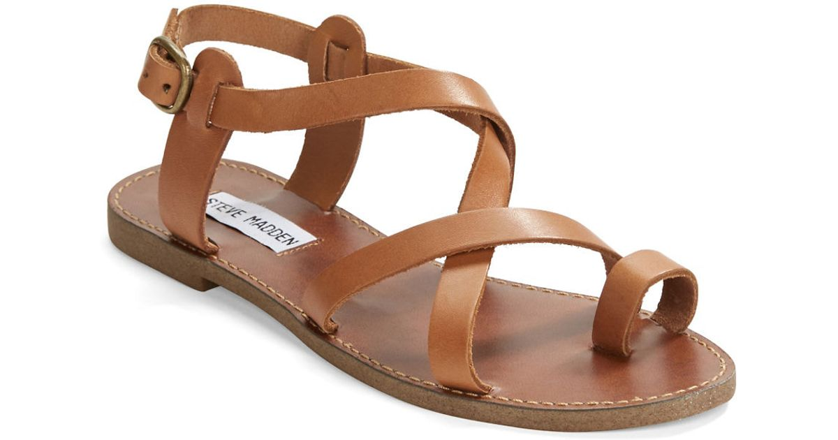 e809518fb1a44 Steve Madden Agathist Leather Strappy Sandals in Brown - Lyst