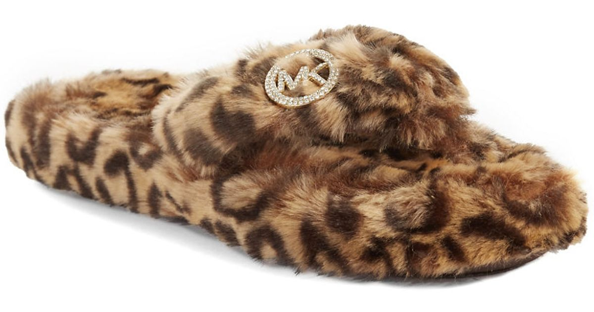 de71d28eb125 Source https   www.lyst.com shoes michael-by-michael-kors-cheetah-faux-fur -thong-slippers-leopard