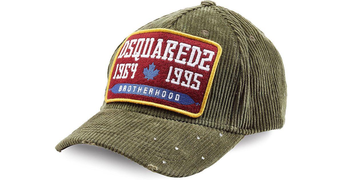 1e74dcbe39c Lyst - DSquared² Corduroy Baseball Cap - Green in Natural for Men