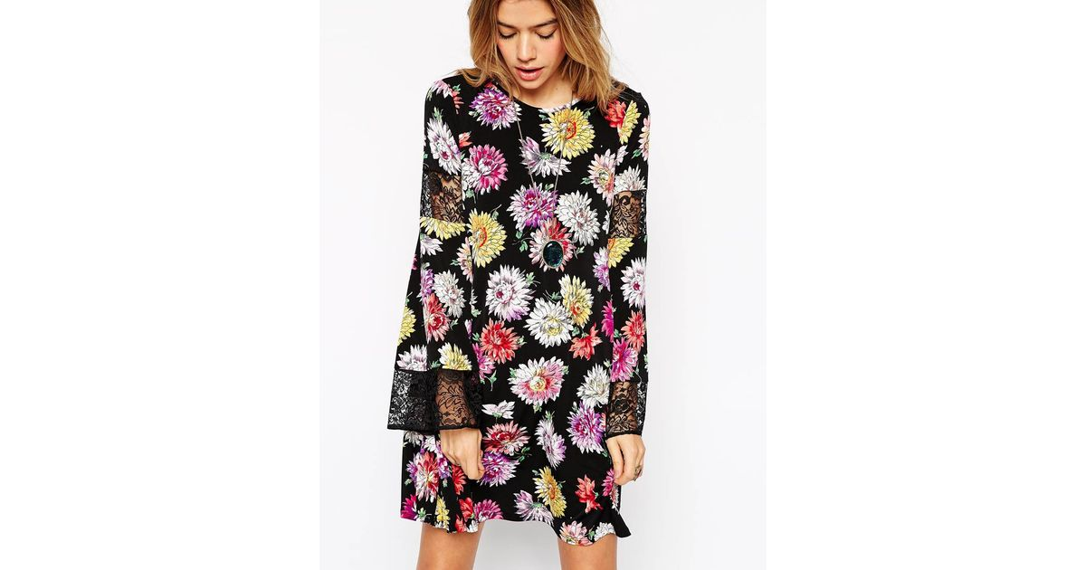 asos swing dress in texture and mono floral print 1