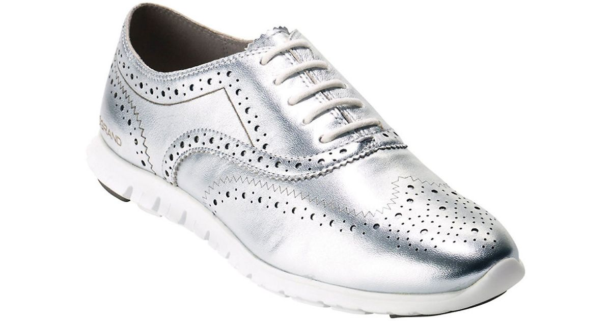 Cole haan Zerogrand Metallic Leather Oxfords in Silver