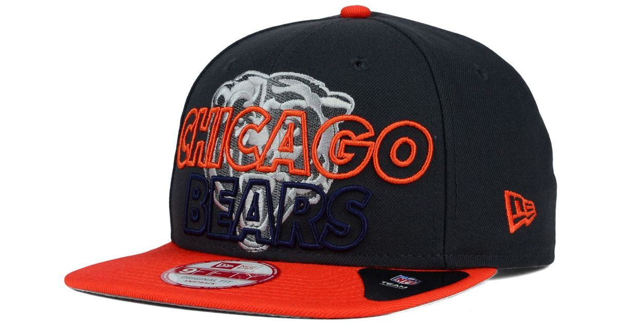 5850f712f7d ... where to buy lyst ktz chicago bears graph outline 9fifty snapback cap in  orange for men