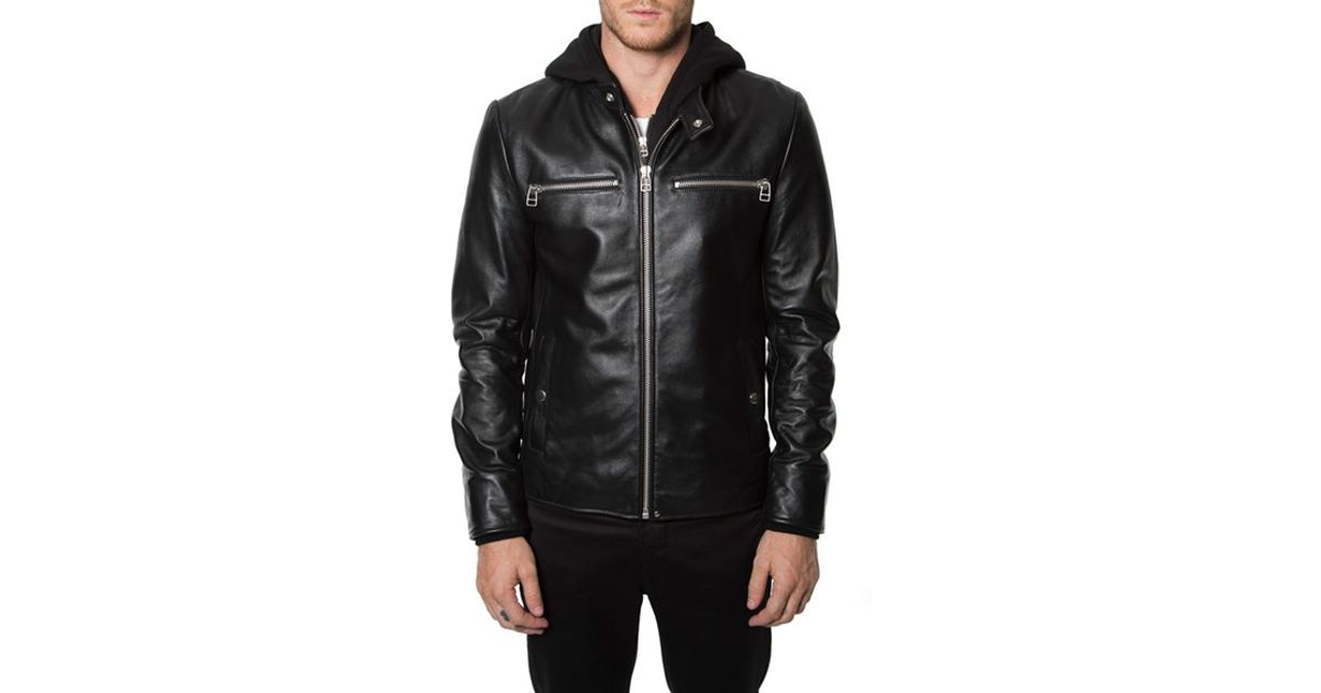 7c48db0a6 7 Diamonds Black 'norton' Leather Moto Jacket With Removable Knit Hooded  Zip Bib for men