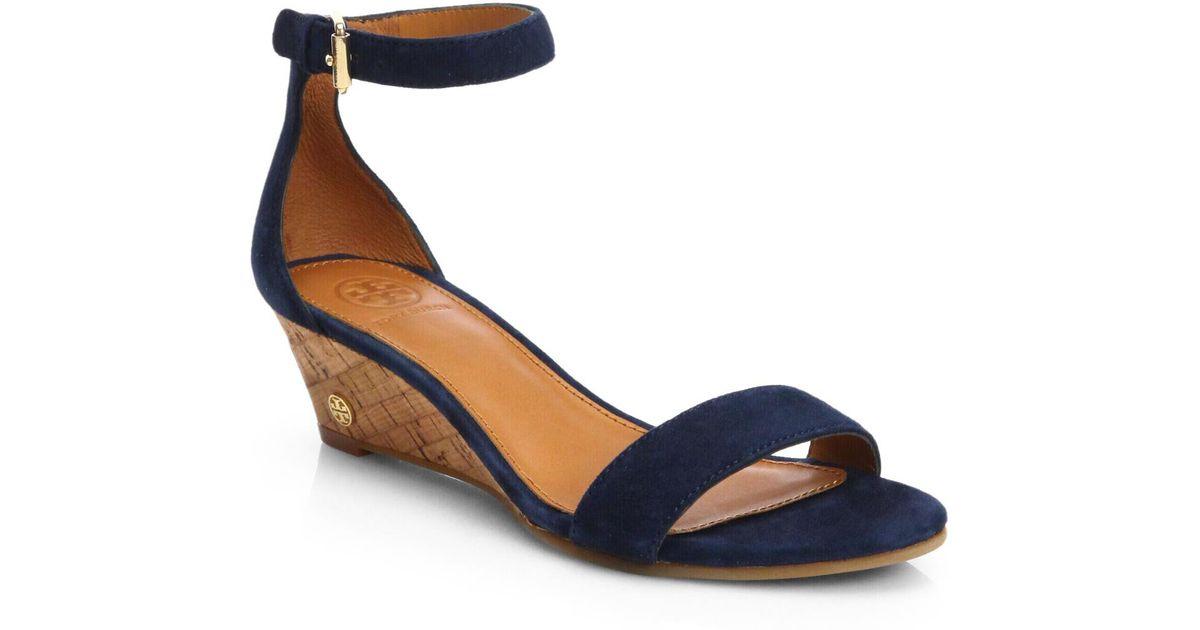 6b8c6fd98 Lyst - Tory Burch Savannah Suede Cork Wedge Sandals in Blue