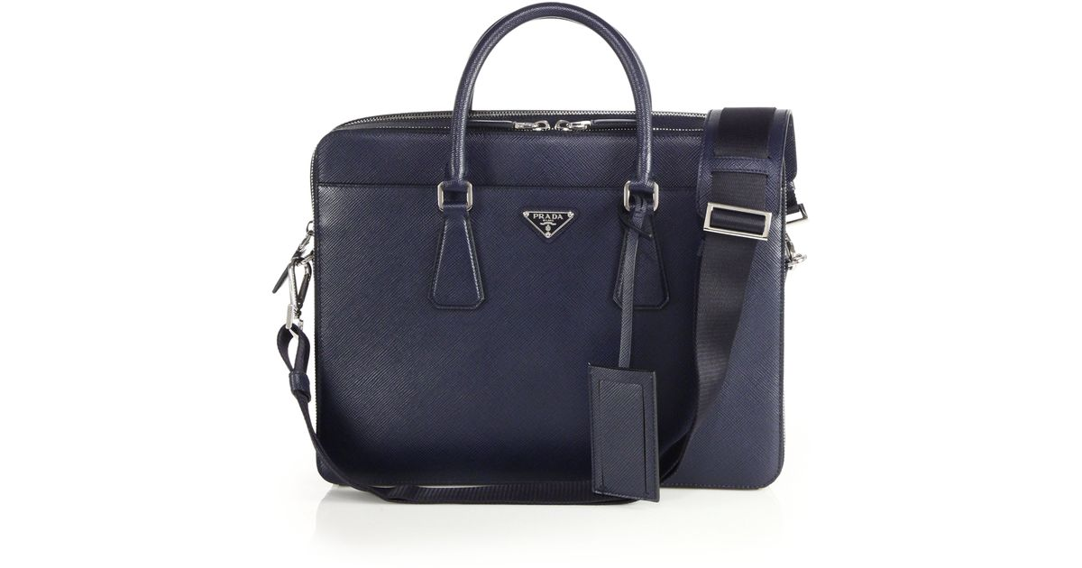 green prada purse - Prada Saffiano Travel Briefcase in Blue for Men (baltic blue) | Lyst