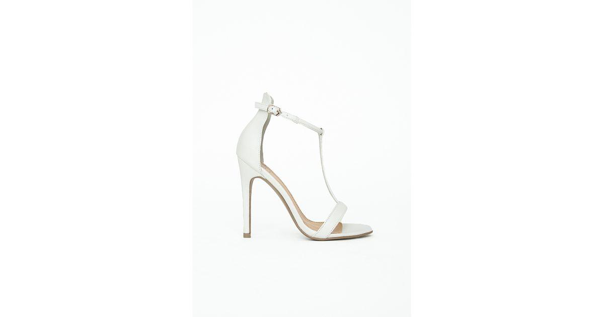 7d920b8773 Lyst - Missguided Jasmine T Bar Heeled Sandals White Croc in White