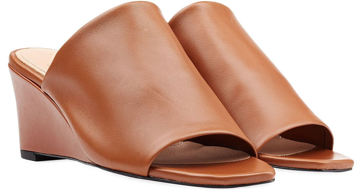 9b12ff6392a Lyst - Robert Clergerie Pauline Leather Wedge Mules - Brown in Brown