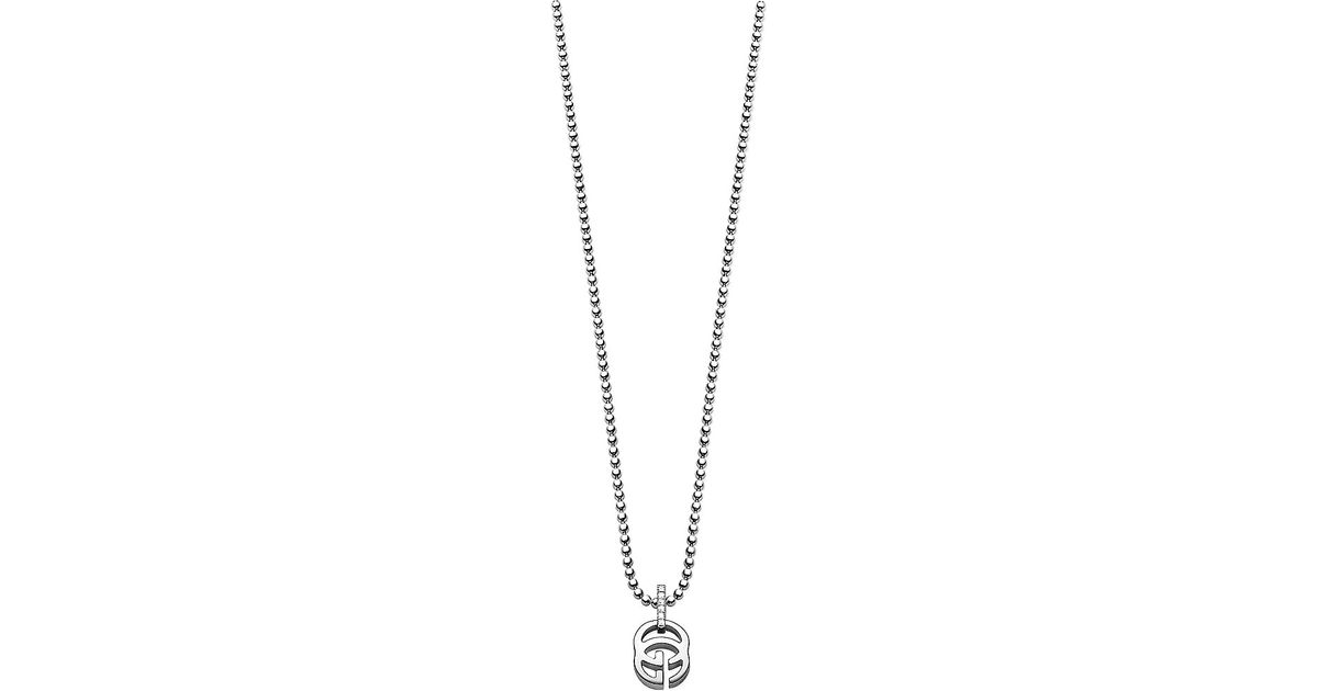 0ef2d6b4c Gucci Running G 18ct White-gold And Diamond Necklace in Metallic - Lyst