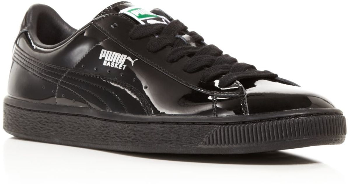 PUMA Black Women's Basket Matte And Shine Lace Up Sneakers