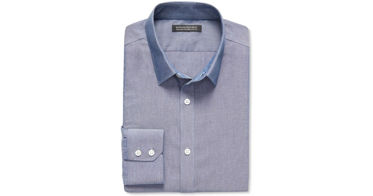 ed4bb10cad Lyst - Banana Republic Tailored Slim-fit Non-iron Chambray Shirt in Blue  for Men