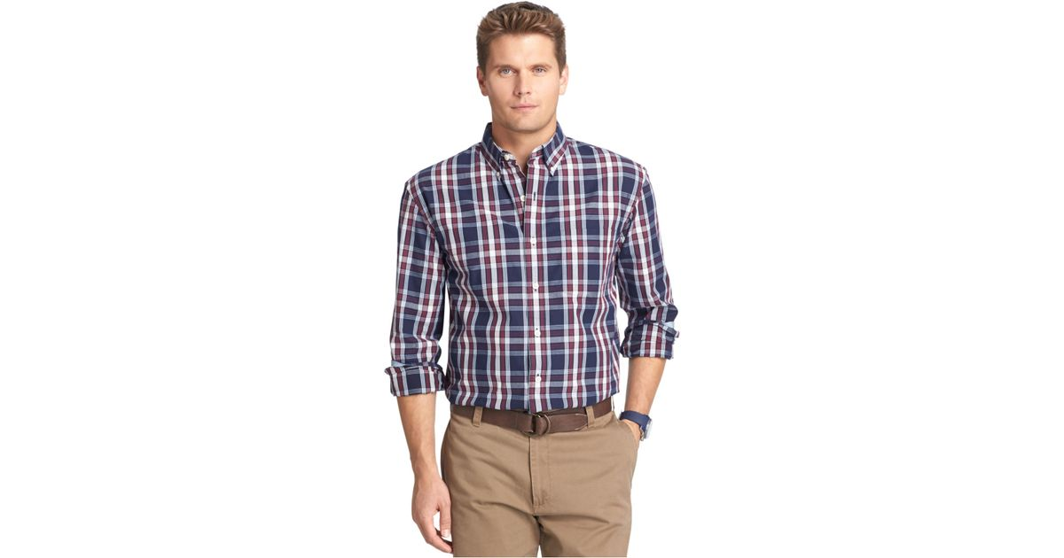 izod big and tall long sleeve tartan plaid shirt in blue
