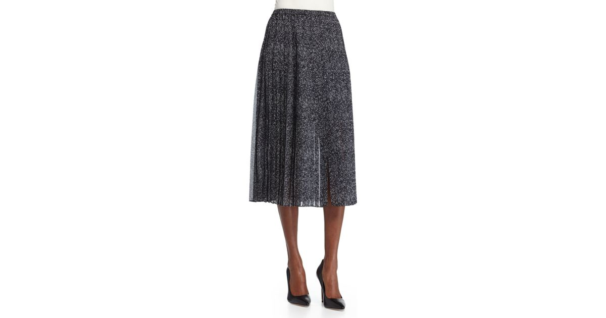 84b9559b7d Lyst - Michael Kors Pleated Midi Skirt With Slit in Gray