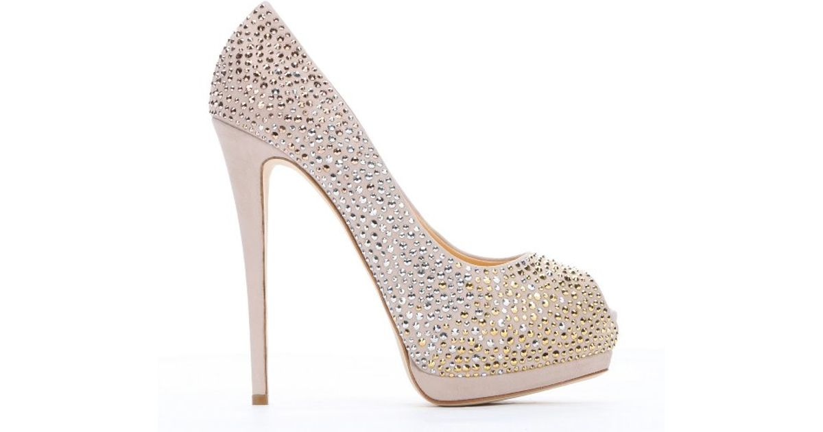 d31826c58cd ... sale lyst giuseppe zanotti cipria studded suede sharon 105 platform  pumps in pink 380ae cf1b4