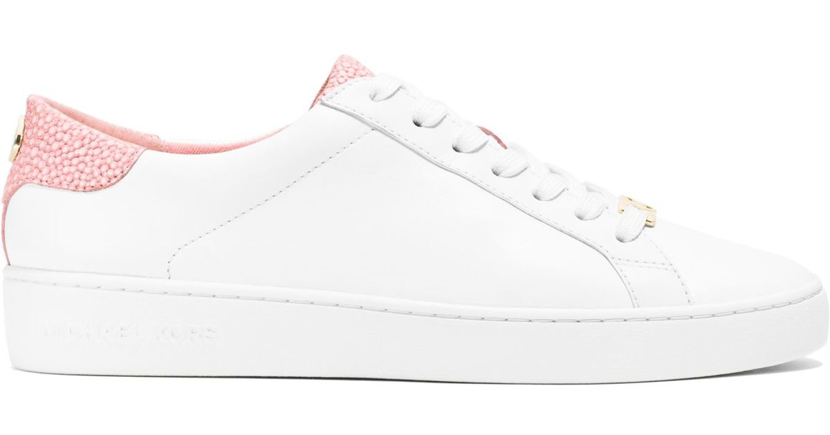 f13c88d94af6 Michael Kors Irving Leather Sneaker in Pink - Lyst