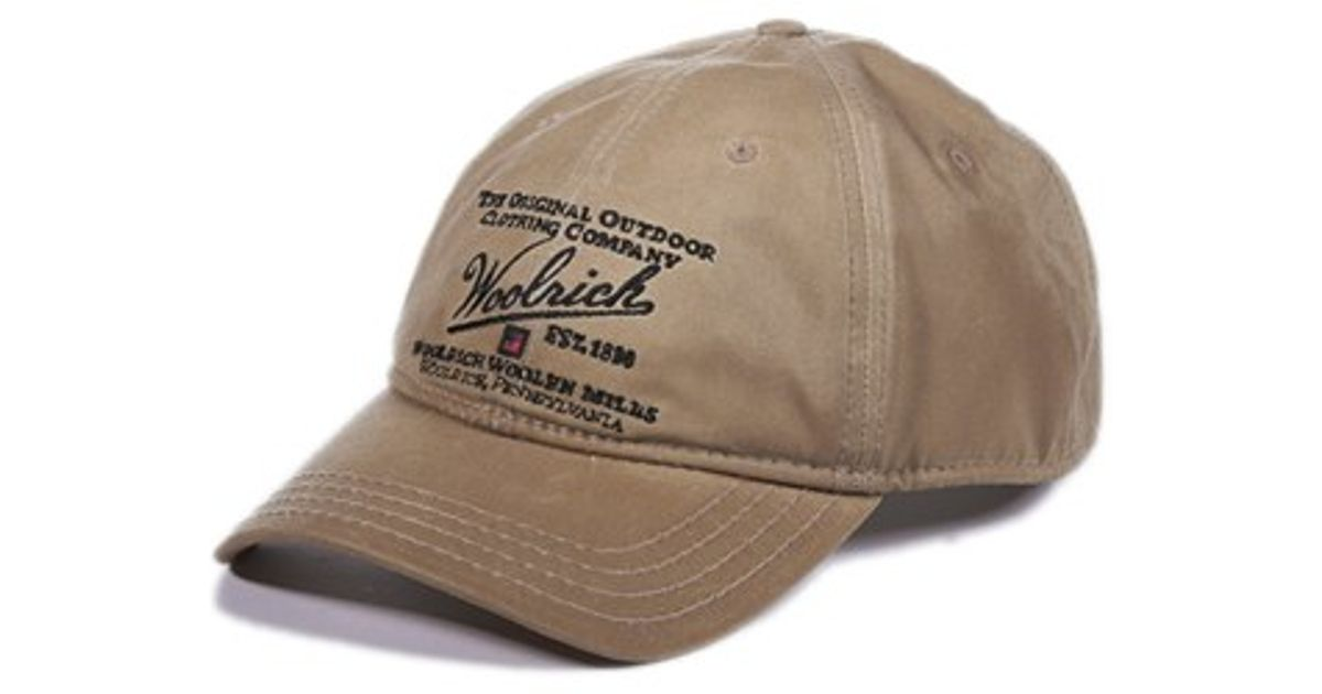 Woolrich Oil Cloth Baseball Cap In Natural For Men Lyst