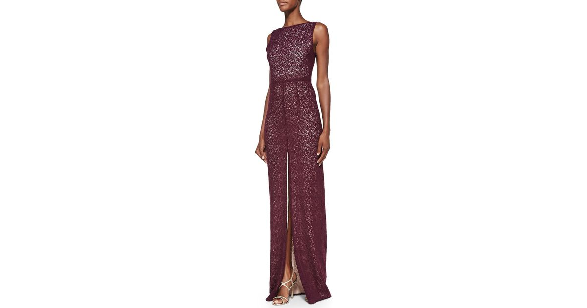 Lyst - Alice + Olivia Gemma Lace Front-Slit Gown in Purple