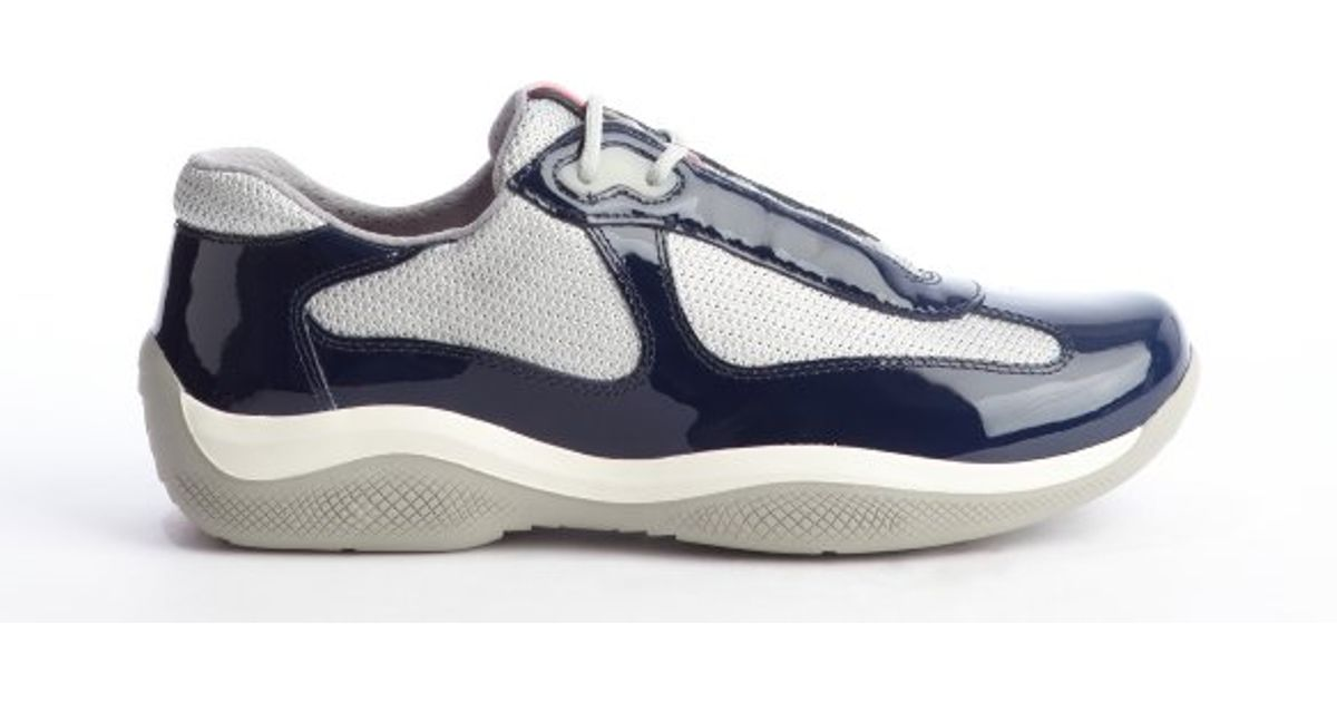 Prada Navy and Silver Patent Leather Mesh Sneakers in Blue for Men - Lyst 3591e8ce8