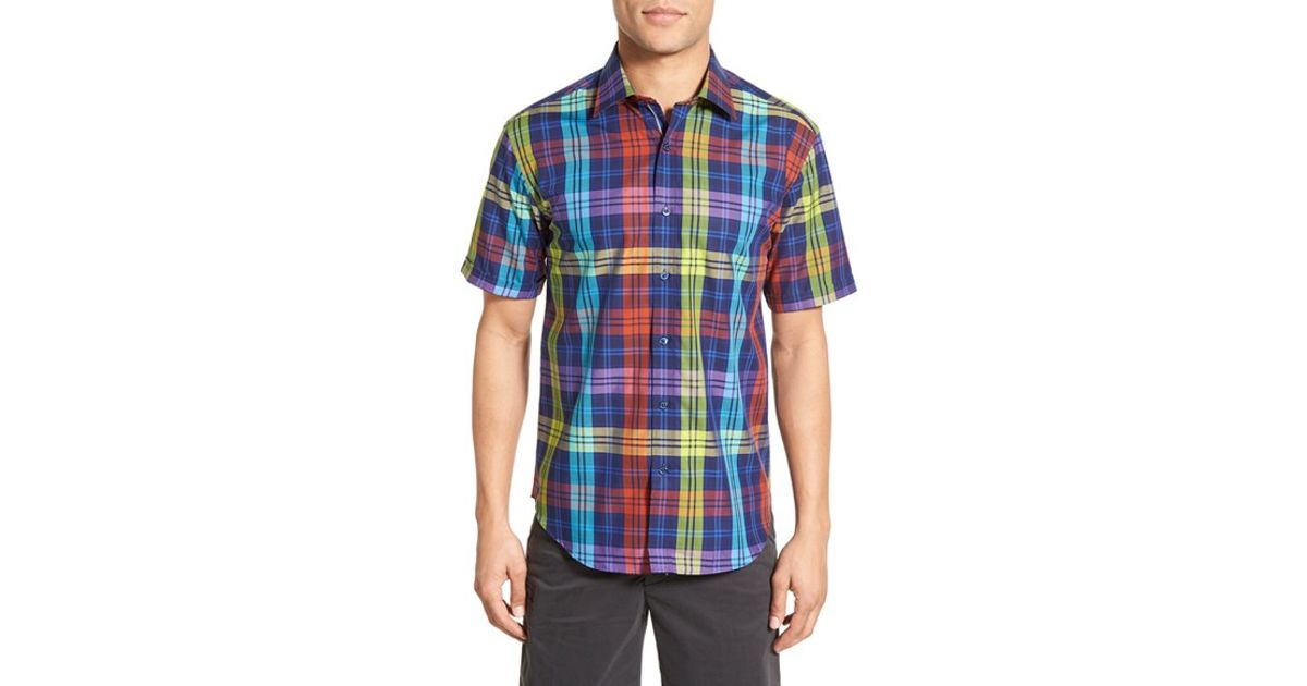 Bugatchi shaped fit windowpane plaid sport shirt in yellow for Blue and yellow plaid dress shirt