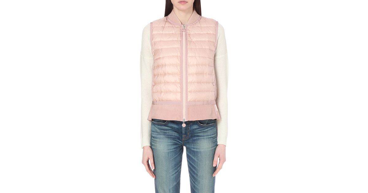 05608bd56a39 Moncler Tournesol Flared Quilted Gilet in Pink - Lyst