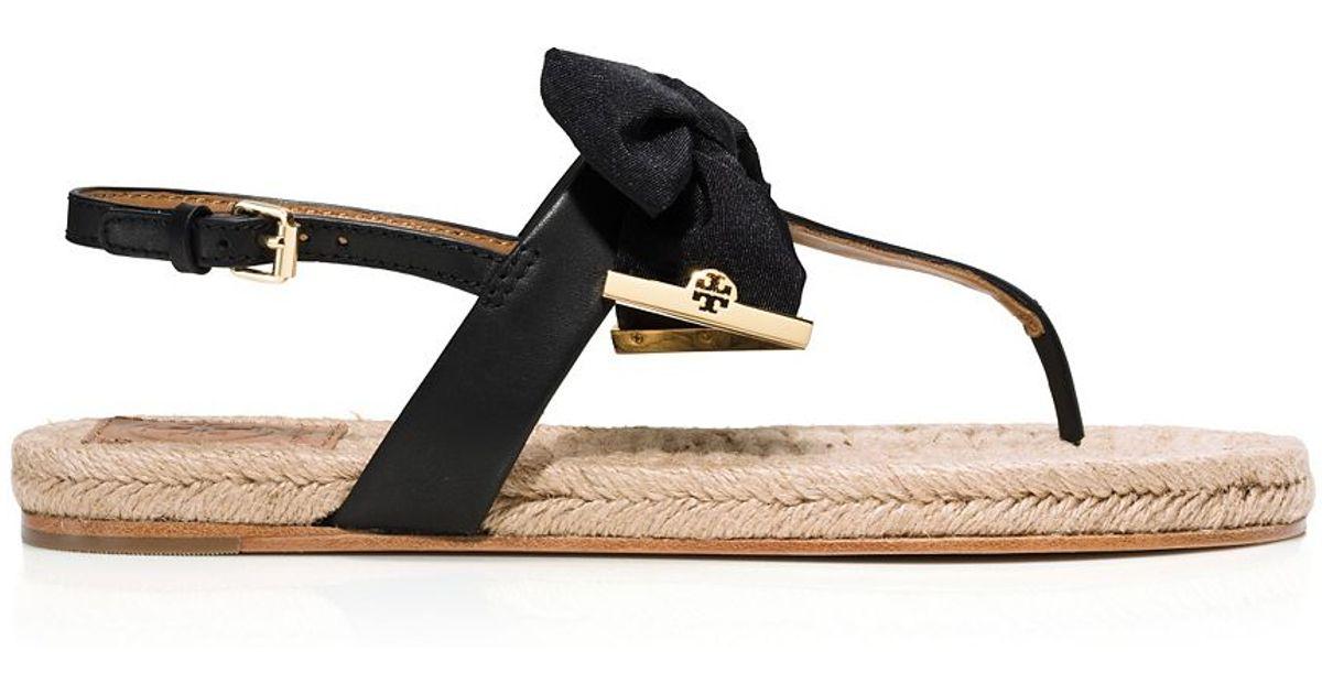 7549baaf5230 Lyst - Tory Burch Penny Flat Thong Sandal in Black