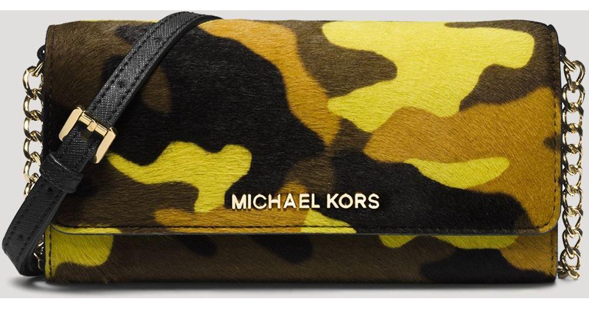 2080ed5ca9fc Lyst - MICHAEL Michael Kors Crossbody - Jet Set Travel Printed Camo  Haircalf Wallet On A Chain in Yellow