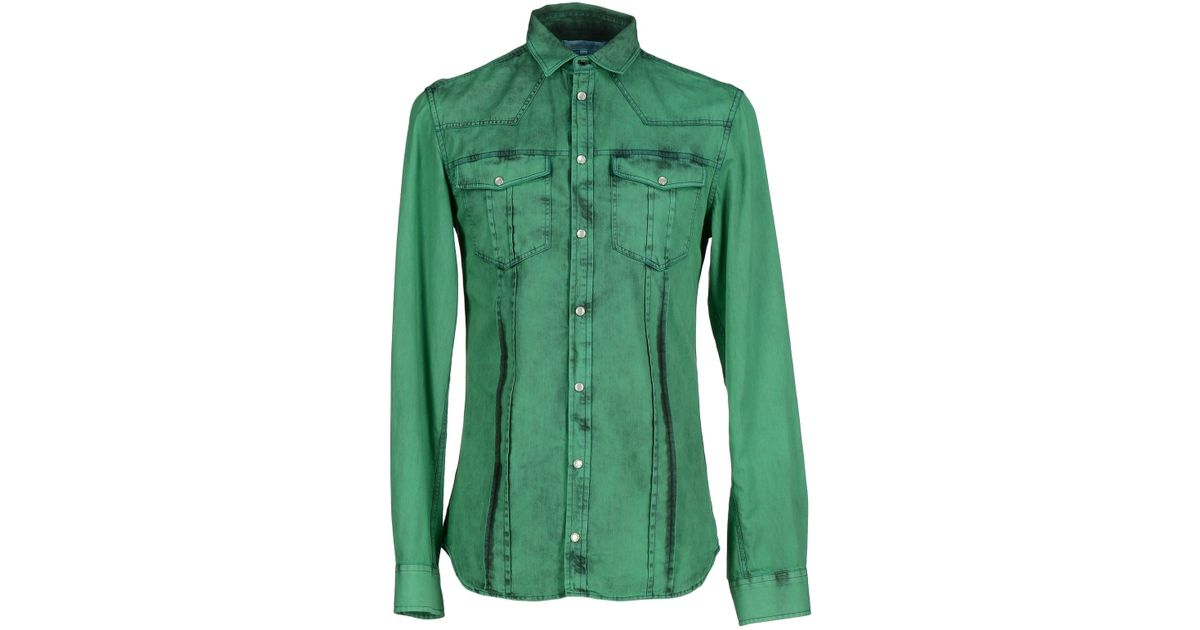 Balmain shirt in green for men emerald green lyst Emerald green mens dress shirt