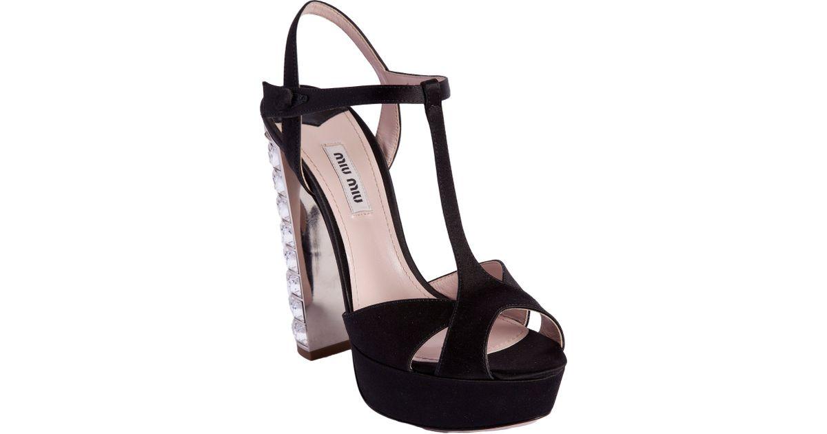 Jeweled Miu Sandal Heel Black Tstrap nX8OP0wk