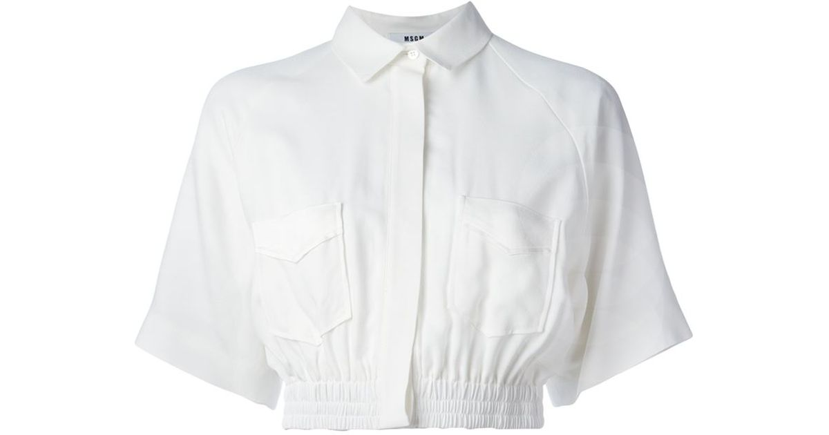 10df6b2f8bf MSGM Elastic Waistband Cropped Shirt in White - Lyst