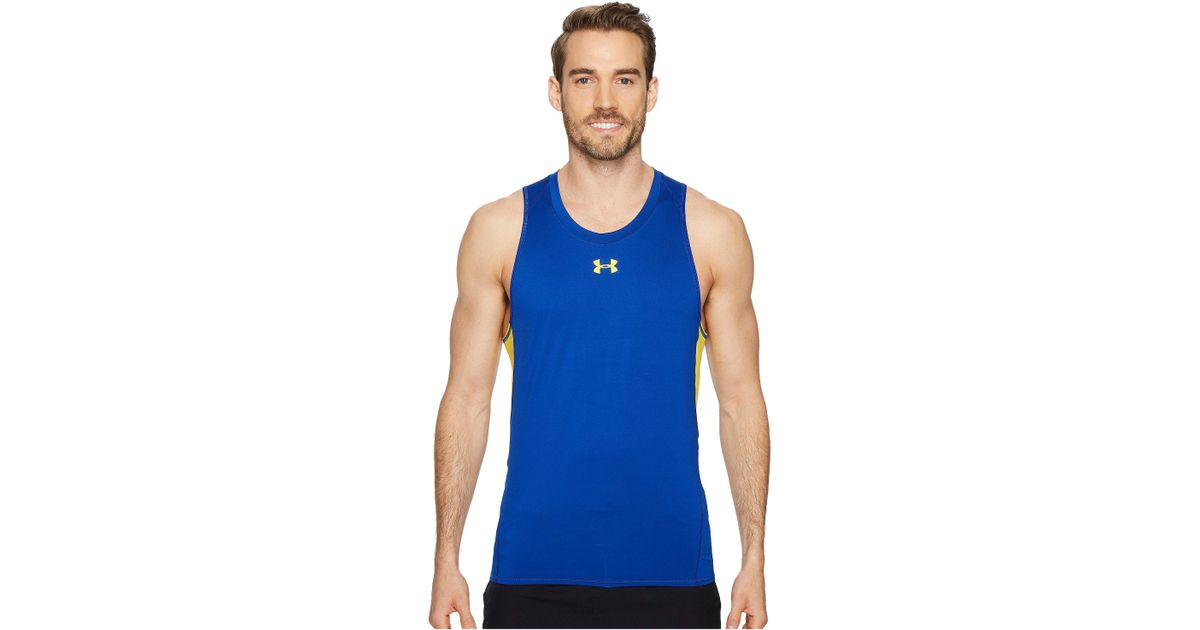 6c9ec5fdc7bba Lyst - Under Armour Ua Heatgear® Armour Printed Compression Tank Top in Blue  for Men