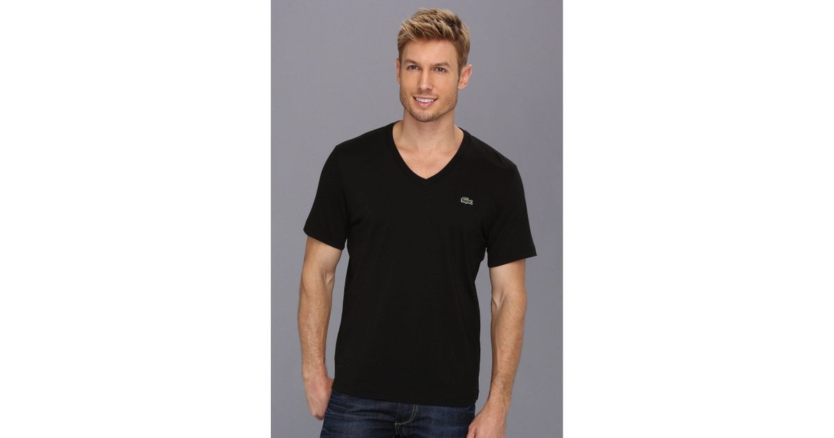 8c80125de248 Lyst - Lacoste L!ve Short Sleeve V-neck T-shirt in Black for Men