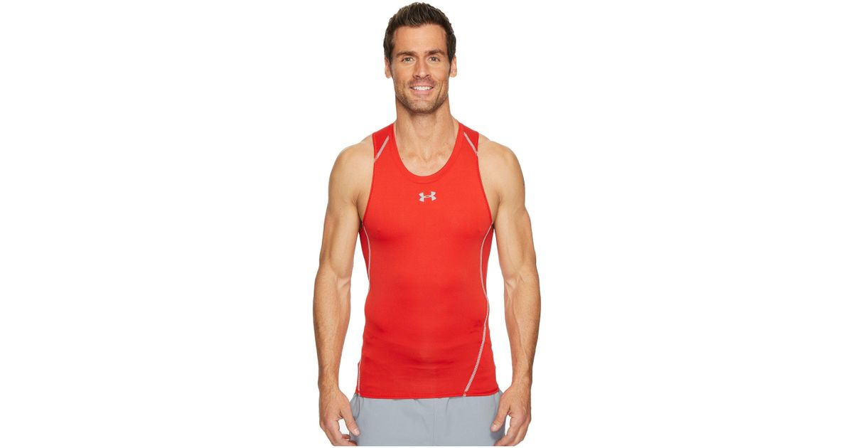 471ed4dd646ac Lyst - Under Armour Ua Heatgear® Armour Printed Compression Tank Top in Red  for Men
