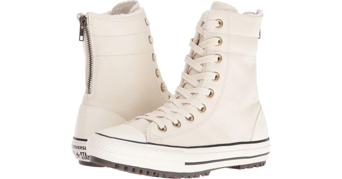 77b2f3b1a60 Lyst - Converse Chuck Taylor® All Star® Leather + Fur Hi-rise Boot Xhi