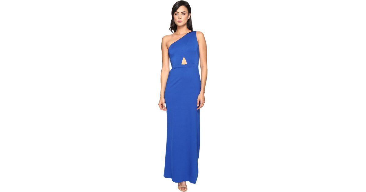 f7fe49a686c Adrianna Papell Jersey One Shoulder Gown W/ Cutout (royal) Dress in Blue -  Save 35% - Lyst