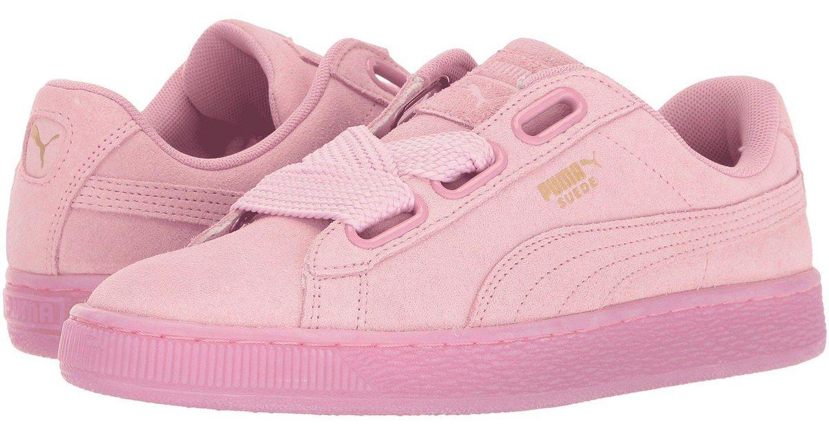 best cheap 791eb 6f46a PUMA - Pink Suede Heart Reset - Lyst