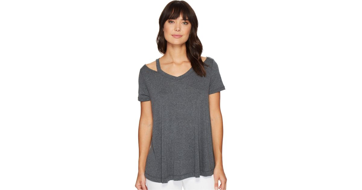 15a0aad8a361e Lyst - Culture Phit Lacey Short Sleeve Cut Out Top in Gray